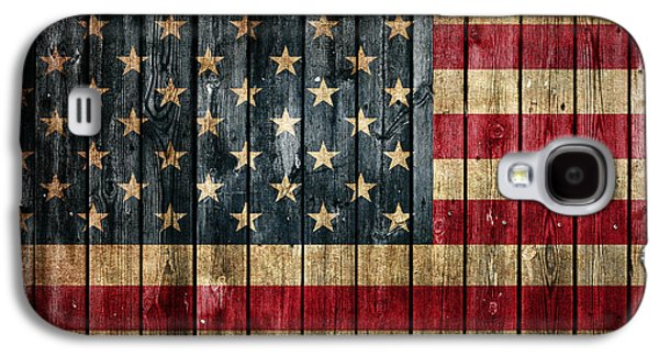 American Flag Painted On Reclaimed Barn Wood Galaxy S4 Case by Design Turnpike