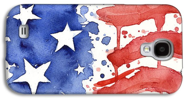 American Flag Watercolor Painting Galaxy S4 Case by Olga Shvartsur