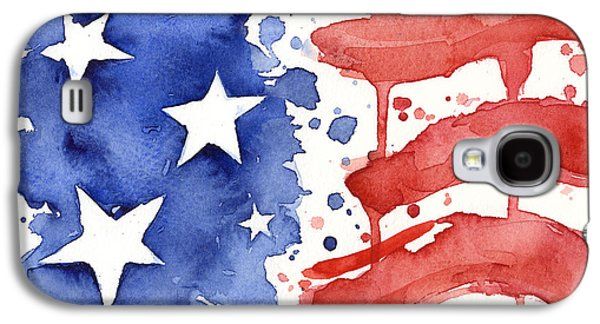 American Flag Watercolor Painting Galaxy S4 Case