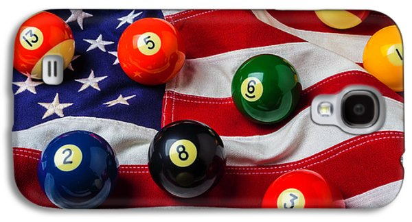 American Flag With Game Pool Balls Galaxy S4 Case by Garry Gay