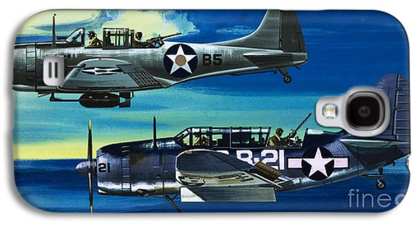 American Ww2 Planes Douglas Sbd1 Dauntless And Curtiss Sb2c1 Helldiver Galaxy S4 Case by Wilf Hardy