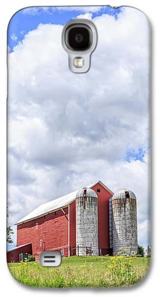 Amish Red Barn And Silos Galaxy S4 Case by Edward Fielding