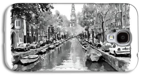 Amsterdam Canal 2 Black And White Galaxy S4 Case by Marian Voicu