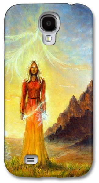 An Enchanting Mystical Priestess With A Sword Of Light In A Land Galaxy S4 Case by Jozef Klopacka