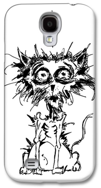 Lines Drawings Galaxy S4 Cases - Angst Cat Galaxy S4 Case by Nicholas Ely