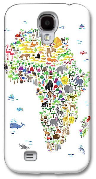 Animal Map Of Africa For Children And Kids Galaxy S4 Case by Michael Tompsett