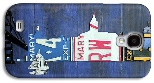 Annapolis Maryland Skyline Vintage License Plate Art Galaxy S4 Case