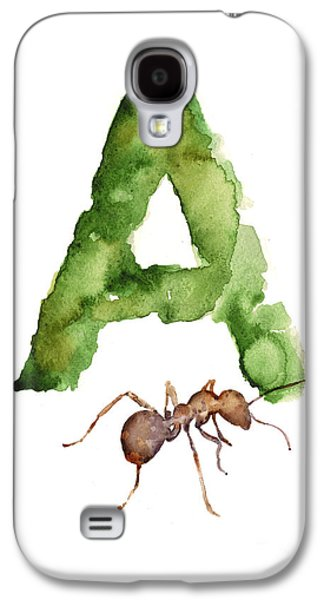 Ant Galaxy S4 Case - Ant Watercolor Alphabet Painting by Joanna Szmerdt