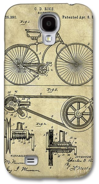 Antique Bicycle Blueprint Patent Drawing Plan, Industrial Farmhouse Galaxy S4 Case by Tina Lavoie