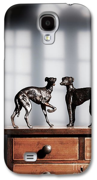 Antique Bronze Greyhound Dogs Galaxy S4 Case by Amanda Elwell