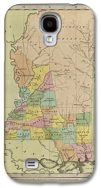 Antique Map Of Mississippi By David Burr - 1835 Galaxy S4 Case by Blue Monocle