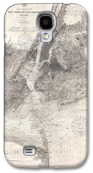Antique Maps - Old Cartographic Maps - Antique Map Of New York Bay And Harbor, 1910 Galaxy S4 Case