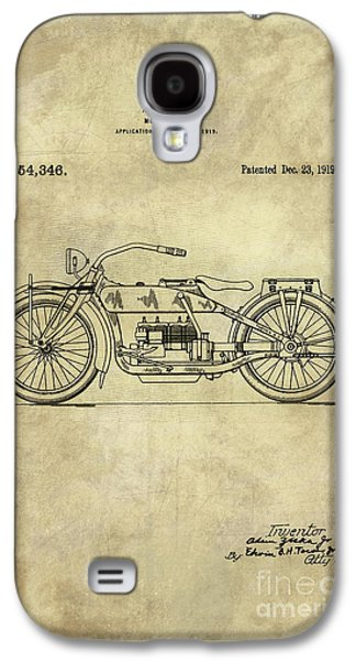 Antique Motorcycle Blueprint Patent Drawing Plan From 1919, Industrial Farmhouse Galaxy S4 Case by Tina Lavoie