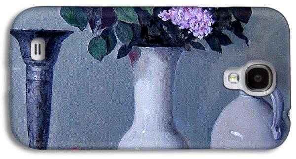 Apples And Lilacs, Silver Vase, Vintage Stoneware Jug Galaxy S4 Case