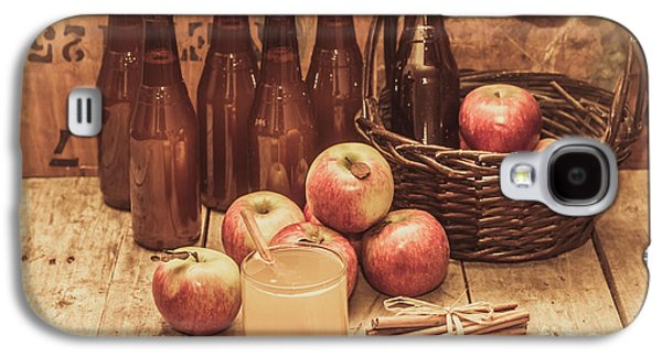 Apples Cider By Wicker Basket On Wooden Table Galaxy S4 Case by Jorgo Photography - Wall Art Gallery