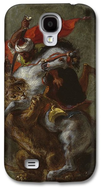 Arab Horseman Attacked By A Lion Galaxy S4 Case by Ferdinand Victor Eugene Delacroix