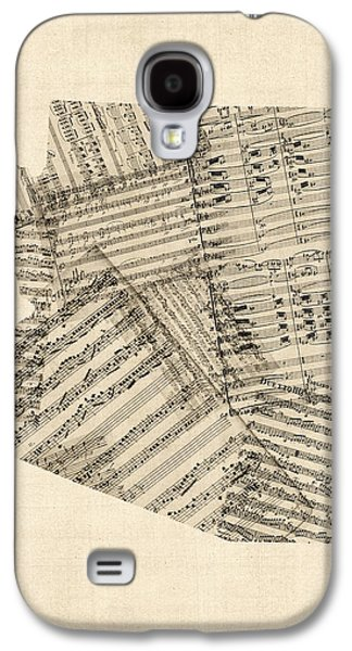 Arizona Map, Old Sheet Music Map Galaxy S4 Case by Michael Tompsett