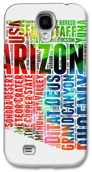Arizona Watercolor Word Cloud Map  Galaxy S4 Case by Naxart Studio