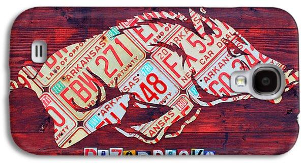 Arkansas Razorbacks Recycled Vintage License Plate Art Sports Team Logo Galaxy S4 Case