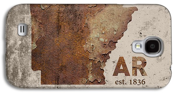 Arkansas State Map Industrial Rusted Metal On Cement Wall With Founding Date Series 034 Galaxy S4 Case by Design Turnpike