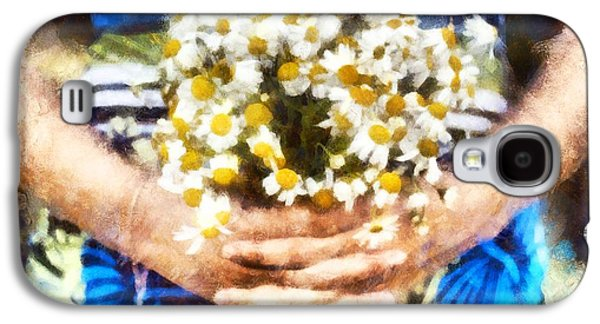 Art Illustration. Watercolor Painting. Beautiful Wedding Bouquet Of Flowers Chamomile In Hands Of Ya Galaxy S4 Case