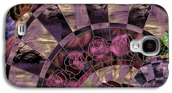 Art Nouveau Stained Glass Fan Galaxy S4 Case by Mindy Sommers