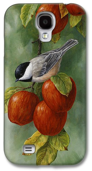 Apple Chickadee Greeting Card 3 Galaxy S4 Case by Crista Forest