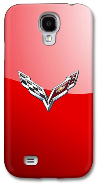 Chevrolet Corvette - 3d Badge On Red Galaxy S4 Case by Serge Averbukh