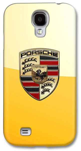 Porsche - 3d Badge On Yellow Galaxy S4 Case by Serge Averbukh