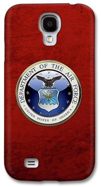 U. S.  Air Force  -  U S A F Emblem Over Red Velvet Galaxy S4 Case by Serge Averbukh