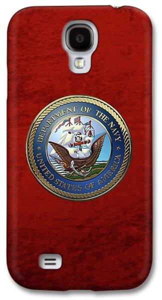 U. S.  Navy  -  U S N Emblem Over Red Velvet Galaxy S4 Case by Serge Averbukh
