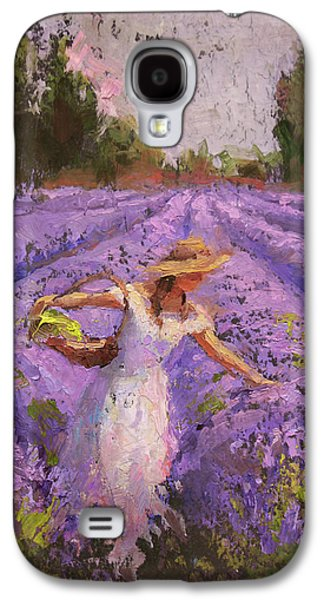 Woman Picking Lavender In A Field In A White Dress - Lady Lavender - Plein Air Painting Galaxy S4 Case