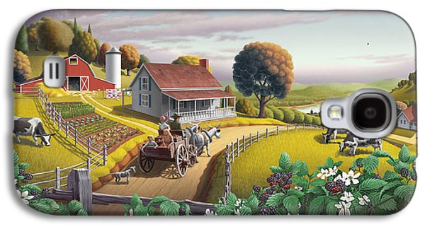 Appalachian Blackberry Patch Rustic Country Farm Folk Art Landscape - Rural Americana - Peaceful Galaxy S4 Case
