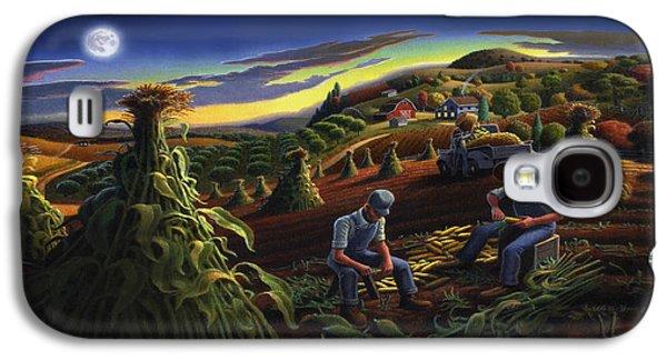 Nebraska Galaxy S4 Case - Autumn Farmers Shucking Corn Appalachian Rural Farm Country Harvesting Landscape - Harvest Folk Art by Walt Curlee