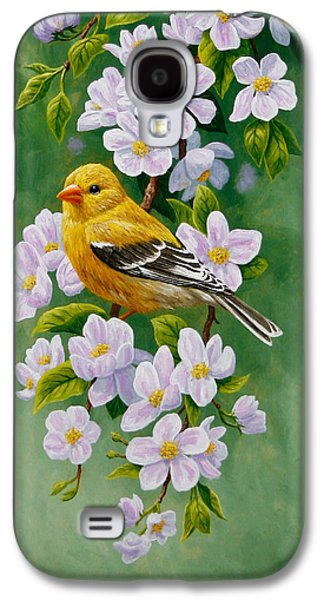 Goldfinch Blossoms Greeting Card 2 Galaxy S4 Case by Crista Forest