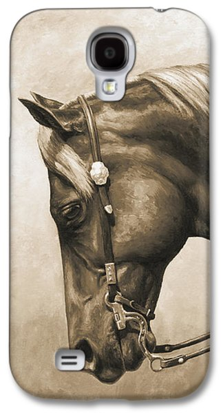 Horse Galaxy S4 Case - Western Horse Painting In Sepia by Crista Forest