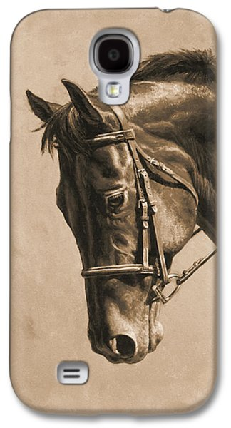 Horse Painting - Focus In Sepia Galaxy S4 Case by Crista Forest