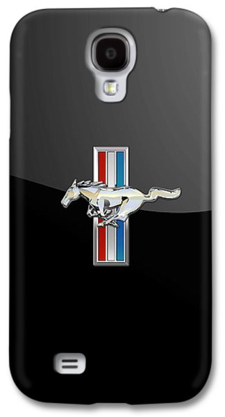 Ford Mustang - Tri Bar And Pony 3 D Badge On Black Galaxy S4 Case by Serge Averbukh