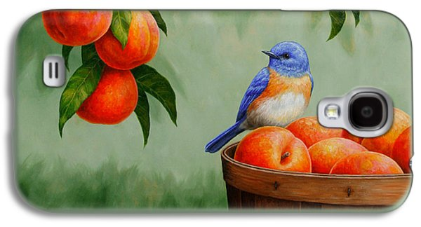 Bluebird And Peaches Greeting Card 3 Galaxy S4 Case by Crista Forest