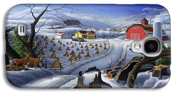 Rural Winter Country Farm Life Landscape - Square Format Galaxy S4 Case