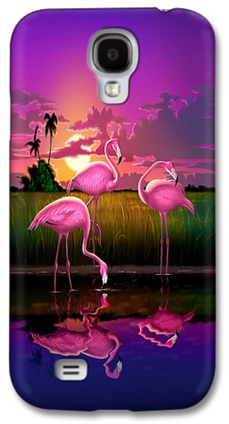Pink Flamingos At Sunset Tropical Landscape - Square Format Galaxy S4 Case