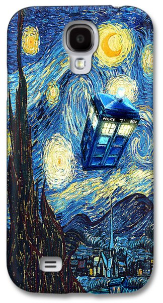 Weird Flying Phone Booth Starry The Night Galaxy S4 Case by Three Second
