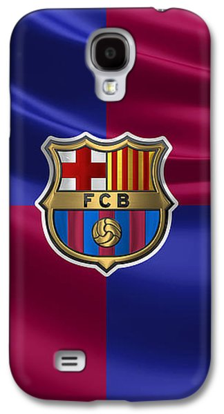 Fc Barcelona - 3d Badge Over Flag Galaxy S4 Case by Serge Averbukh