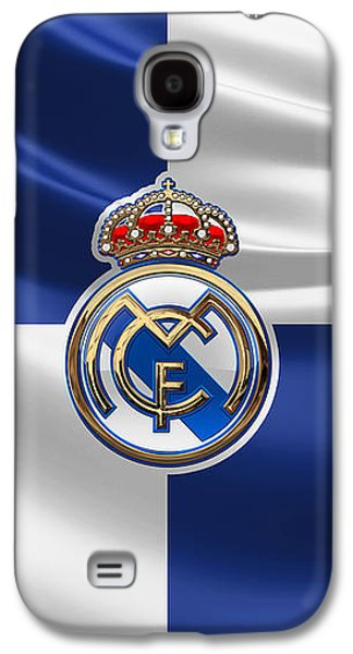 Real Madrid C F - 3 D Badge Over Flag Galaxy S4 Case by Serge Averbukh