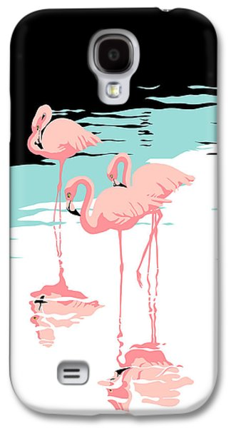 Flamingo Galaxy S4 Case - Pink Flamingos Tropical 1980s Abstract Pop Art Nouveau Graphic Art Retro Stylized Florida Print by Walt Curlee