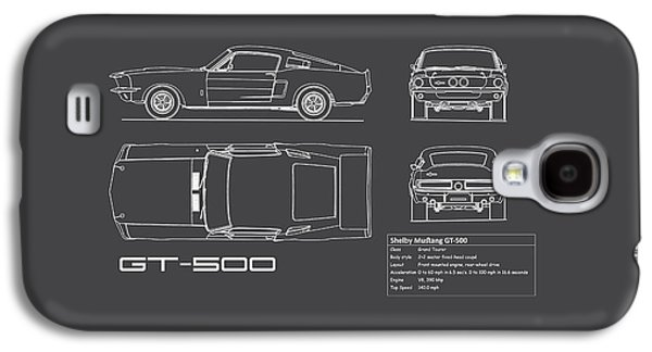 Shelby Mustang Gt500 Blueprint Galaxy S4 Case by Mark Rogan