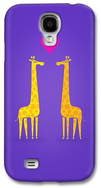 Cute Cartoon Giraffe Couple In Love Purple Edition Galaxy S4 Case by Philipp Rietz