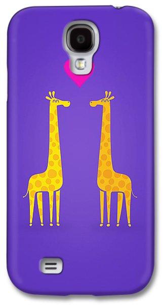 Cute Cartoon Giraffe Couple In Love Purple Edition Galaxy S4 Case