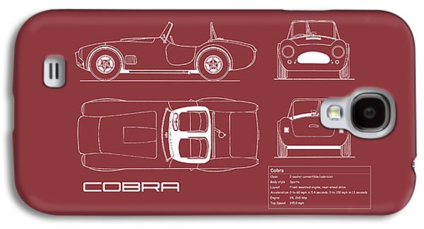 Ac Cobra Blueprint - Red Galaxy S4 Case by Mark Rogan