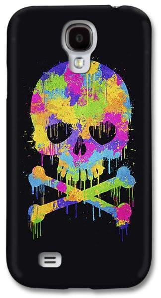 Abstract Trendy Graffiti Watercolor Skull  Galaxy S4 Case by Philipp Rietz